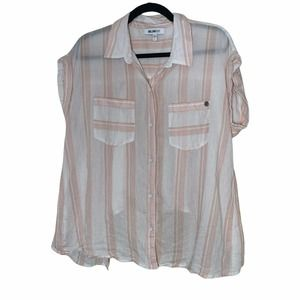 William Rast Button Front Blouse Size L Loose Fit Camp Shirt Style